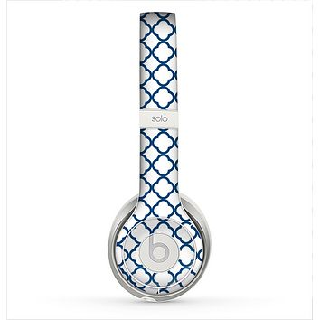 The Navy & White Seamless Morocan Pattern V2 Skin for the Beats by Dre Solo 2 Headphones