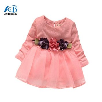 2017 winter newborn fancy infant baby dresses girl frocks designs party wedding with long sleeves jacadi 1 year birthday dresses