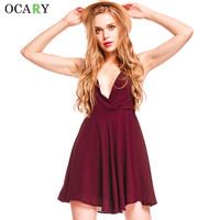OCARY Pleated Cute Party Dresses Backless Sexy Club Dress Deep V-neck Jurk Chiffon Mini Dress Summer Robe Ete Plus Size Vestdios