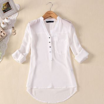 V-Neck Button Detail Long Sleeves Irregular Chiffon Shirt