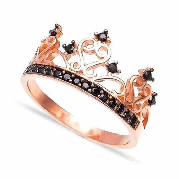 Gold Zirconia Crown Ring Over 925 Sterling Silver