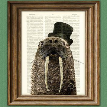 Dictionary Page Art Print Aristocrat WALRUS with a by collageOrama