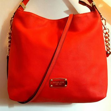 MICHAEL KORS Red Pebble-Leather Crossbody Bag. (Great condition)