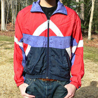 1980's Windbreaker Jacket by MacGregor - Red White & Blue - Geometric Shapes - Retro 80's Style - Mens Large (L)