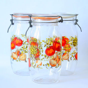 Vintage French 2L Canning Jar From Arcoroc France // Glass Retro Canisters // Spice Of Life Container Jars