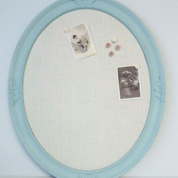 Spa Blue Shabby Chic Ornate Oval Burlap Memo Pin Board