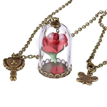 Beauty and the Beast Necklace Rose in Glass Dome Enchanted Rose Rose Necklace Vintage Handmade Jewelry for Women