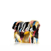 River Island Womens Mixed faux fur clutch bag