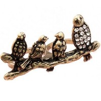 White Crystal Four Birds Two Fingers Ring - Sheinside.com