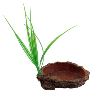 Red Oval Shaped Resin Tank Reptiles Dish Bowl with Grass