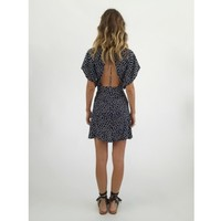 Faithfull The Brand Parisian Dress - Pin Bow Print Navy | Shop Online at Splice Boutique