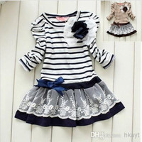 2014 Hot Girl Stripe Dress Princess Skirt Children Clothing Kids Dresses Tutu Baby Dress Brown And Blue.