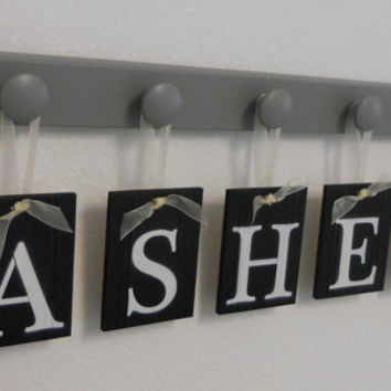 Baby Boy Nursery Wall Letters Sign Set Includes 5 Wooden Pegs in Gray. Personalized Hanging Ribbon Letters in Black for ASHER