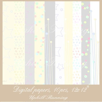 Baby digital paper set, craft paper pack, baby comfort colors, 12x12 inch, JPG, 300 dpi, Instant Download, for