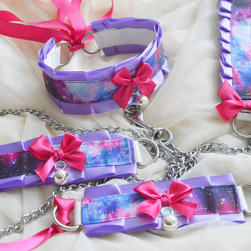 Kitten play collar leash and cuffs - Other space - bdsm proof ddlg cgl cute neko sweet kawaii pet petplay costume - galaxy violet and pink