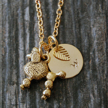 Gold Poodle Charm Necklace, Initial Charm Necklace, Personalized Necklace, Poodle Pendant, Dog Lover Charm, Poodle Jewelry