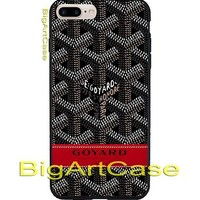 New Hot GOYARD Logo Print Black Belt Red Print On Hard CASE iPhone 6/6s 6s+ 7 7+