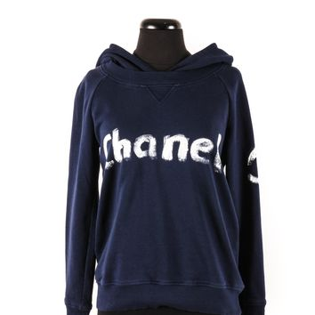 Chanel Navy Cotton Hoodie with White Paint Logo