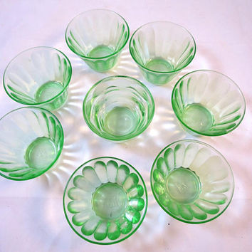 8 Vintage Green Nut Cups Hazel Atlas Depression Glass Antique Green Glass Bowls Panel Pattern Sherbet Candy Bowls 1920's Art Deco