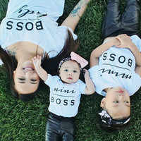 HOT Fashion MINI BOSS Matching T-shirts Mother Daughter Son Parent Child Tops Tee Shirts