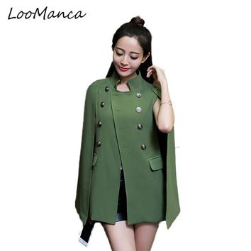 Fashion Cloak Cape Blazer Women Black Khaki Lapel Split Long Sleeve Jacket Coat Female Casual Ol Suit Jacket Work Wear Blazers
