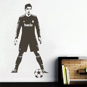 Football Soccer Player Cristiano Ronaldo Wall Sticker Boys bedroom living room Home Decor Famous Soccer player decor Vinyl A704