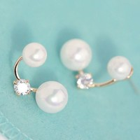 Double Pearl And Rhinestone Crescent Earrings