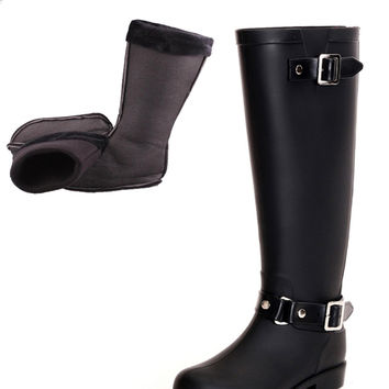 2017 new H black ladies rubber rain boots bots Back red Zip zipperand bots  with Warm socks   Horse riding Boots