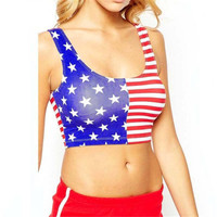 Sexy Women Crop Tops American Flag Printing Vest Tank Tops Sleeveless Cropped Tee Shirts regata feminina blusas INY66
