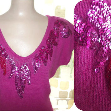 Vintage 80s Magenta Pink Sequin & Beaded Angora Sweater  L/XL Avant-Garde Sexy