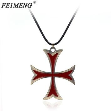 Assassins Creed 3 Templar Necklace Leather Chain Red Cross Pendant Necklace For Women Men Fashion Jewelry Cool Accessories