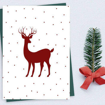 Christmas Printable Card Deer Red and White Christmas Poster Digital Christmas Decor Christmas Print Deer