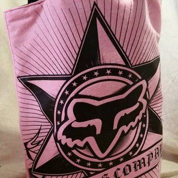 Fox Racing Company Pink and Black Up Cycled Tote!