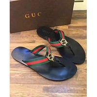GUCCI Popular Women Leisure Red Green Stripe Sandal Slipper Shoes Flip-Flops I