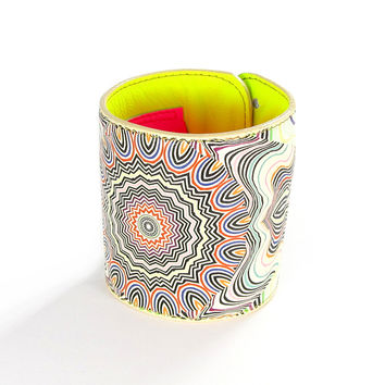 Leather Wallet Cuff / Bracelet Purse - Neon Mela