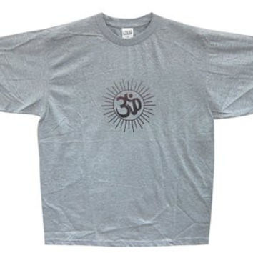 Aum Print T-shirt Yoga Tees Slate Gray Spiritual India Tee Shirt Cotton Xl