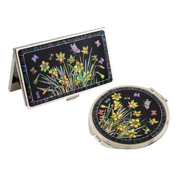 Mother of Pearl Yellow Flower Metal Compact Makeup Beauty Purse Hand Mirror Business Credit Card Christmas Women Lady Gift Set
