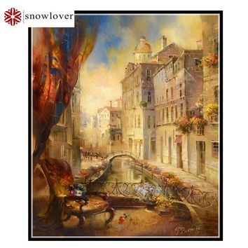 Snowlover,Needlework,Embroidery,DIY Landscape Painting,Cross stitch,kits,14ct city home Cross-stitch,Sets For Embroidery