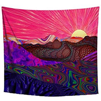 Lucid Eye Studios Trippy Trek Tapestry Wall Hanging- Rainbow Psychedelic Landscape Wall Hanging- Large Colorful Hippie Art Tapestry- Dorm Room Decor- 58 x 51 Inches- Premium Home Decor