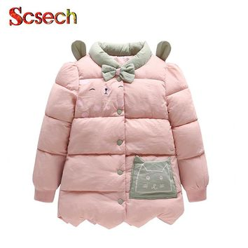 New Cute Baby Girls Jackets Cat Printing Bow Autumn Winter Jacket Kids Warm Hooded Children Outerwear Coat Girls Clothes SSA57