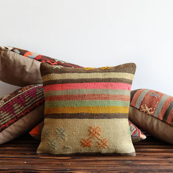 Kilim Pillow Cover - Hand Woven Colorful Striped Turkish Kilim Pillow Cover - Pink Pillow - 16x16 Pillow - Hand Embroidered Pillowcases