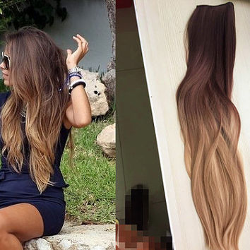 Shop blonde hair dye on wanelo one piece clip in dip dye ombre hair extensions synthetic straight curly wavy col pmusecretfo Gallery
