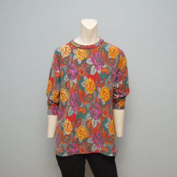 Vintage Long Sleeve Floral and Paisley Patterned 1990's Top Sweatshirt Shirt Burgundy, Yellow, Fuchsia and Green Bohemian 90's Retro Fall