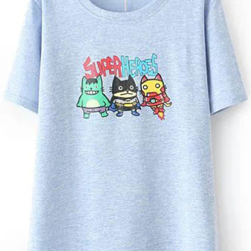 Blue Cartoon SUPER HEROES Print T-Shirt