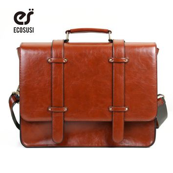 "ECOSUSI New Women Messenger Bags PU Leather Handbag Vintage Crossbody Satchel Briefcase Bolsas Femininas Bags for 14.7"" Laptop"