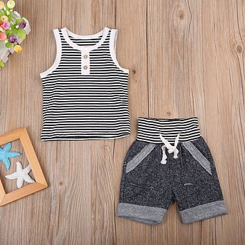 Baby Boys Summer outfit Black and White Stripe Toddler Boys Tanks Top and Jogging Shorts 2pcs