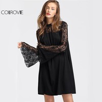 Floral Lace Black Mini Dress Vintage Women Flare Sleeve Party Tunic Dress Fall Fashion Sexy Patchwork Shift Dress