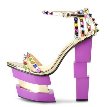 Color Studded High Platform Shoes