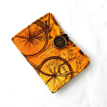 Gears and Time Tea Wallet - Tea Bag Wallet Steampunk Steam Punk Yellow Brown Print