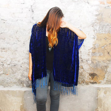 Velvet Kimono: Royal Blue Velvet Burnout Beach Cover Up Shawl Open Wrap